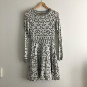 Anthropologie Aztec Sweater Long Sleeves Dress